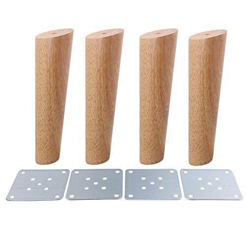 BQLZR Lot de 4 pieds de canapé, d'armoire ou de meubles couleur bois, obliques, coniques, fiables, M4170724024