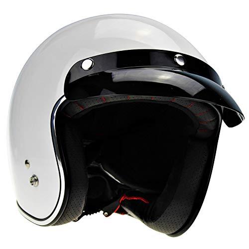 Casco moto Viper Rs-05 Slim Skinny Fit retrò Faccia Aperta Bianco Turismo Bici Protector (L)