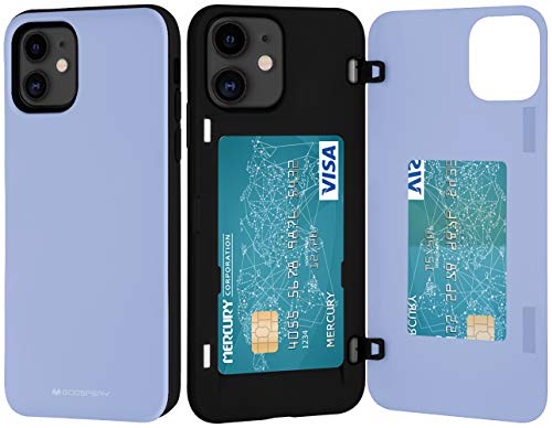 Goospery iPhone 12 Mini Wallet Case with Card Holder, Protective Dual Layer Bumper Phone Case (Lilac Purple) IP12M-MDB-PPL