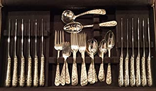 Repousse by Kirk Stieff Sterling Silver Flatware Service For 12 Set 64 Pcs