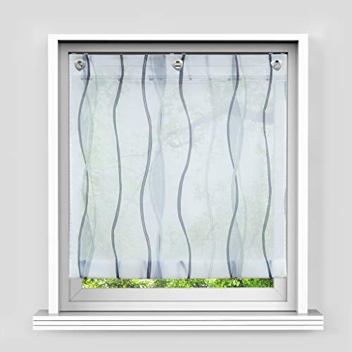 HongYa Raffrollo mit Wellen Druck Transparenter Voile Raffgardine Vorhang mit Hakenösen H/B 140/100 cm Weiß Silber