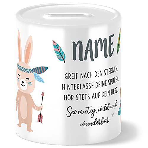 OWLBOOK Boho Hase Kinder Spardose Personalisiert mit Namen Geschenke Geschenkideen für Mädchen zum Geburtstag Weihnachten Einschulung Taufe Geburt Sparschwein
