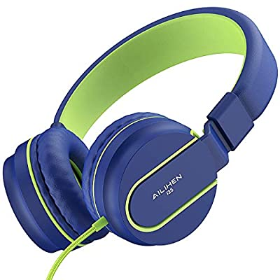 AILIHEN I35 Kid Headphones with Microphone Volume Limited Childrens Girls Boys Teens Lightweight Foldable Portable Wired Headsets 3.5mm for School Airplane Travel Cellphones Tablets (Blue Green) from AILIHEN