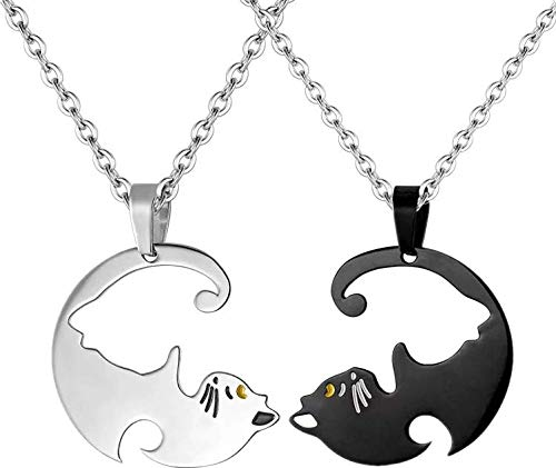 Coppia di ciondoli da uomo e donna, a forma di gatto, Yin Yang  in acciaio inox, nero e argento