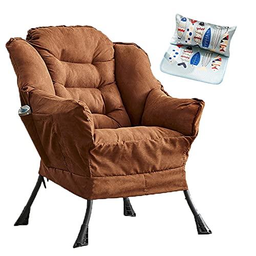 OUHZNUX Relaxsessel Polstersessel Mit Hocker,Einzel Mini Freizeittv Fernsehsessel Stahlrahmensessel,feiner Leinenstoff