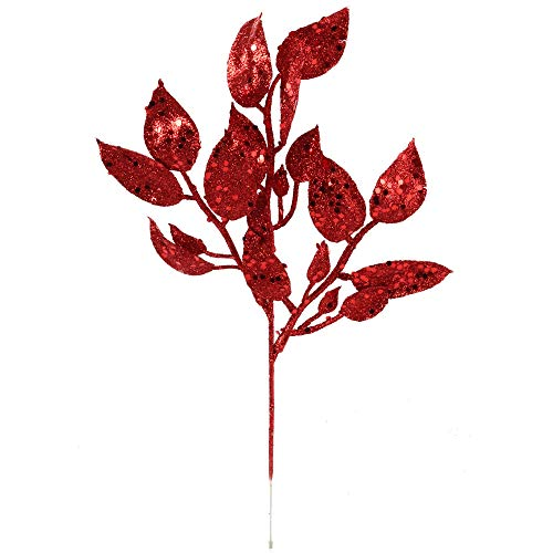 Larksilk Red Glitter Leaf Spray Christmas Tree Pick Ornament | Artificial Winter Ash Branch with Leaves - Xmas Holiday Décor Tree Filler, 12' Pick, 12-Pack