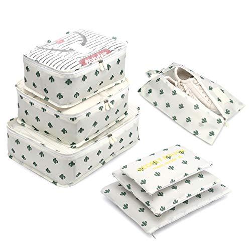 Organizzatori da Viaggio,LOSMILE Organizer Valigie Set di 7, Cubi di Imballaggio Sacchetto di Stoccaggio Perfetto di Viaggio Dei Bagagli Organizzatore.(Bianco-Cactus)