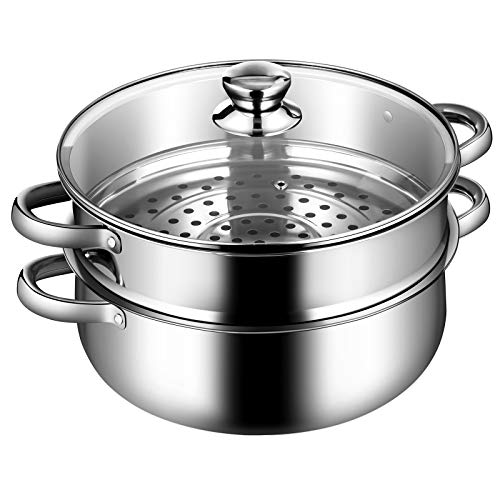 COSTWAY 2-Tier Stainless Steel Steamer, 11-Inch Multi-Layer Boiler Pot with Handles on Both Sides, Cookware Pot with Tempered Glass Lid, Work with Gas, Electric, Grill Stove Top, Dishwasher Safe