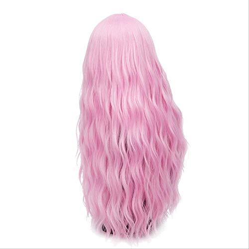 WFQ Peluca Pelucas Onduladas Rosadas Largas De 70 Cm Peluca Rubia Sintética Natural Para Mujer 29 Colores Cabello Resistente Al Calor 28 Pulgadas Rosa