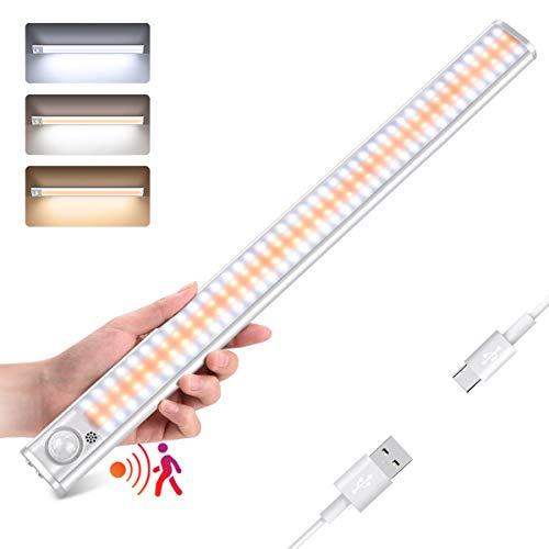 Lámpara de armario de 160 LED, detector de movimiento, luz LED, armario inalámbrico 1800 mAh, 3 modos USB recargable, banda magnética adhesiva, luz nocturna LED automática