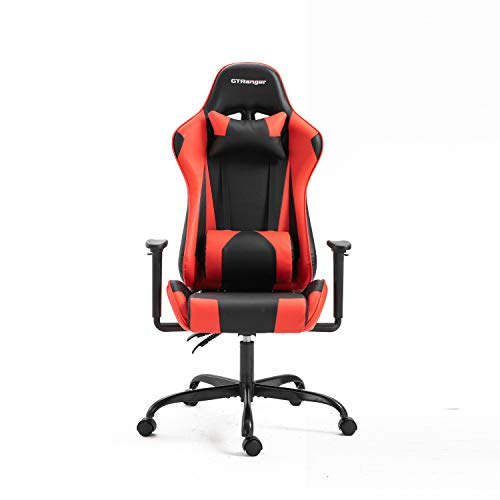 GTRanger Gaming Chair Racing Style High Back Computer Gaming Chair Adjustable Recliner Leather Office Desk Chair with Headrest and Lumbar Support (Black & Red) big chair gaming tall