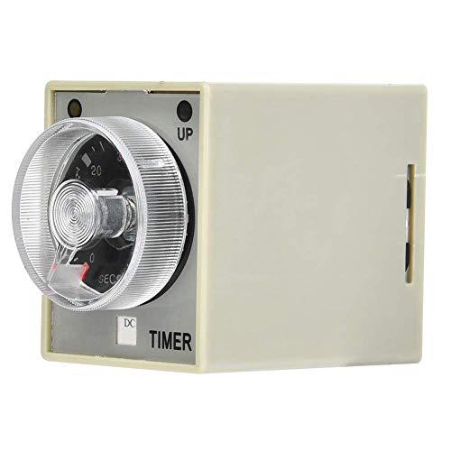 Relé de tiempo electrónico Temporizador de retardo de liberación de 8 pines Montaje en riel DIN de 35 mm Rango de retardo 60S (DC24V) Blanco + Negro