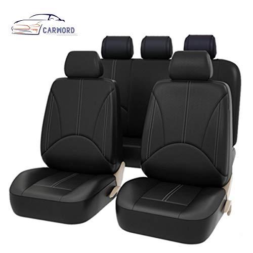 Asiento completo de imitación de cuero 11 piezas -Resistente al agua resistente a la rotura - Conjunto completo compatible con airbag delantero y trasero completo con fundas para reposacabezas (negro)