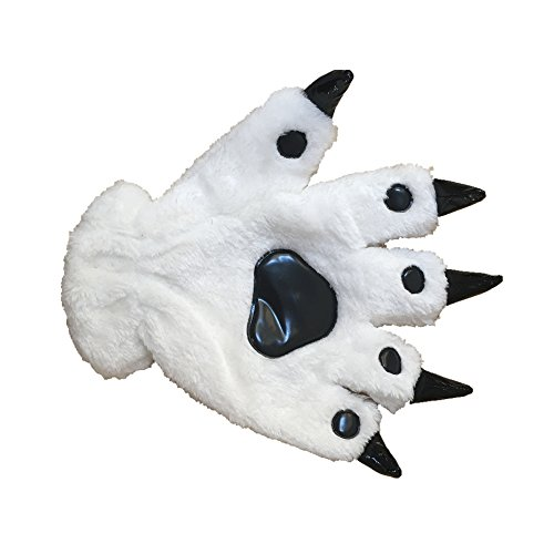 Animal Paw Calw Plush Funny Halloween Costume Hand Gloves White L