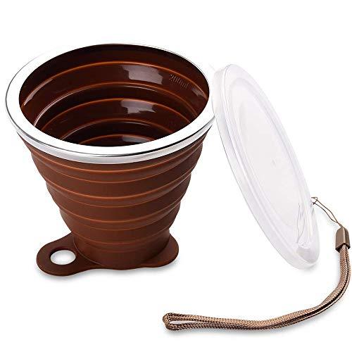 Copa Plegable Portátil, Tazas de Viaje, Copa de Viaje Plegable con Tapa 240ml de Silicona Reutilizable Vaso sin BPA para Camping Senderismo y Viaje