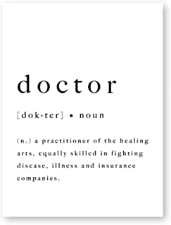 Poster Doctor Nurse Definition Wall Art Print Medical Poster Black White Nursery Kids Room Art Decor Canvas Painting Home ...