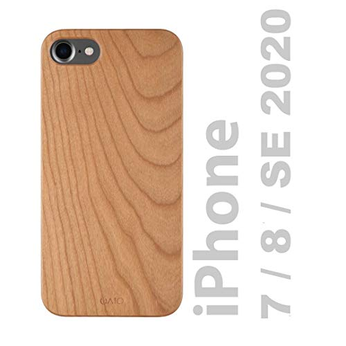 iATO iPhone SE 2020/8 / 7 Wooden Case. Real Cherry Wood Premium Protective Shockproof Slim Back Cover. Unique, Stylish & Classy Snap on Thin Bumper Accessory for iPhone SE 2020 / iPhone 8 / iPhone 7