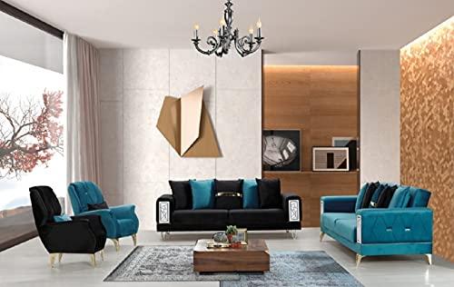 Set divani: due divani letto a tre posti con sistema clic clac e due poltrone; microfibra nero e blu petrolio, ideale per hall alberghi e zone living.