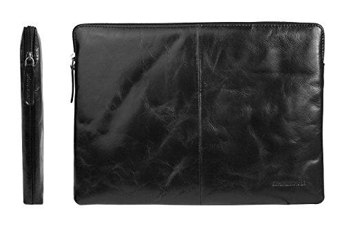 emartbuy Dbramante1928 Schwarz Leder Folio Tasche Hulle Schutzhülle mit Reißverschluss 12,5-13,5 Zoll Geeignet für Ausgewählte Selected Laptops Notebooks Ultrabooks Aufgeführt Unten