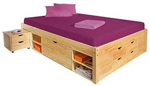 funzione di letto matrimoniale letto stoccaggio 140x200 cm letto ruggine naturale pino massiccio
