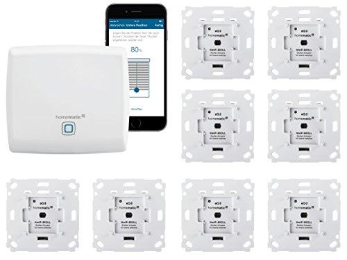 Homematic IP Funk Rolladensteuerung Set mit gratis Smartphone App zur Automatisierung der Rolladen. Beinhaltet: Zentrale, Funk Rollladenaktoren. Smart Home zum Nachrüsten. Alexa kompatibel.