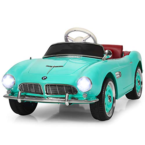 Costzon Ride on Car, 12V Battery Powered Classic Vintage Electric Vehicle w/Parental Remote Control, Music, Horn, Headlights, MP3, USB, TF, Double Open Doors, Kids Ride on Toys for Boys& Girls (Green)