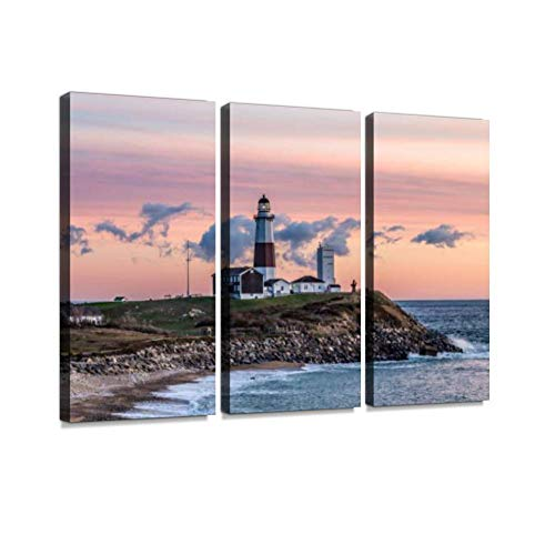Montauk Point Light, Lighthouse, Long Island, New York, Suffolk Wall Art Painting Pictures Print On Canvas Stretched & Framed Artworks Modern Hanging Posters Home Decor 3PANEL