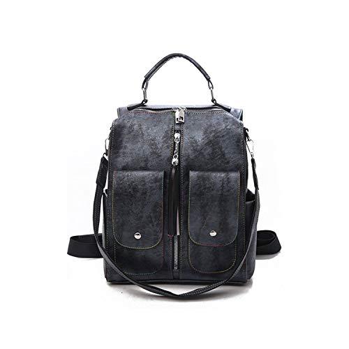 CHANGE Retro In Pelle Donne Zaino Cerniera Scuola Zaini per Ragazze Adolescenti Borsa Grande Capacità Multifunzione Xa227H, Nero  (Nero) - shoulder-handbags