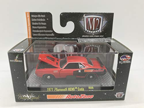 M2 Machines by M2 Collectible AutoZone 1971 Plymouth HEMI Cuda R06 15-01 Red/Black Details Like NO Other!
