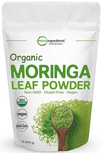 Moringa Powder Organic (Moringa Oleifera Leaf Powder), 1 Pound (16 Ounce), Rich in Natural Antioxidants, Immune Vitamin and Minerals for Green Drinks, Smoothie and Cookie, Sun Dried and Vegan Friendly