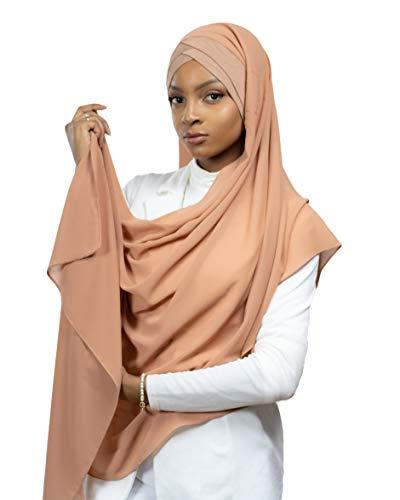 Lamis Hijab - Pañuelo cruzado con gorro integrado para mujer musulmana, velada, chal islámico, velo enfilable Brique Talla única