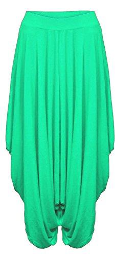 YCC Pantalones de harén holgados para mujer, de Hareem Baggy Ali Baba Lagenlook, informales para trabajo, oficina, Verde jade, 36