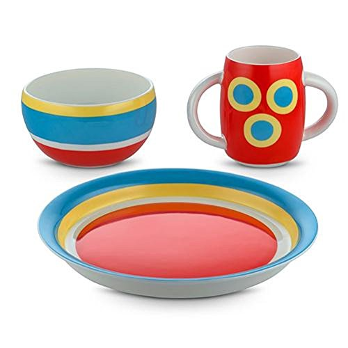 Alessi Alessini-con-centrici Set De Vajilla para Niños, Bone China, Multicolor