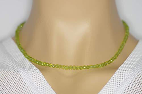 Peridot Halskette Peridot Kugeln facettiert Größe ca. 4 mm Verschluss 925er Sterling-Silber Artikel-Nr. 8051H