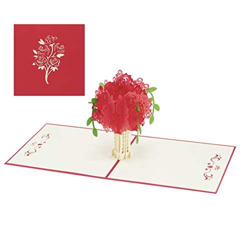 3D Grusskarte Geburtstagskarte Rosen PopUp Karte Romantische Klappkarte für Frau Freundin