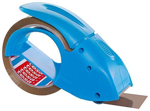 tesapack Abroller Pack' n' Go - Ergonomischer, blauer Handabroller für Paketbänder - Inklusive 50 m x 48 mm Klebeband
