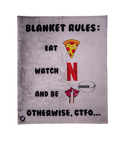 Our Casa Cute Throw Blankets | Soft, Cozy and Warm Fleece Throw Blanket for Couch, Sofa | Gray Throw Blankets for Adults and Kids with Eat Pizza, Watch Netflix and Be Quiet Funny Rules Design