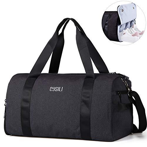 CoCoMall Turnbeutel mit Schuhfach und Nasstasche, Sporttasche für Damen und Herren, Reisetasche mit Schultergurt, Schwarz