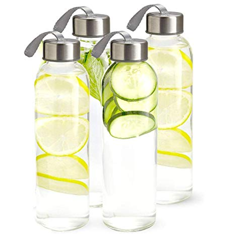 Kitchen Lux 18oz Glass Water Bottles – Nylon Protective Sleeves, Airtight Screw Top Lids, Portable...