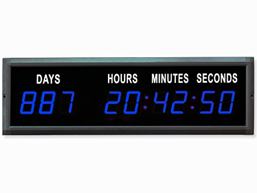 EU Electronic 1.8'' Red Color LED Countdown Clock Count Up with IR Remote (Blue)