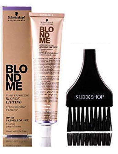 Schwarzkopf BLOND ME Bond Enforcing BLONDE LIFTING, Up to 5 Levels of Lift HAIR COLOR (with Sleek Tint Applicator Brush) Blondme Haircolor (STEEL BLUE)