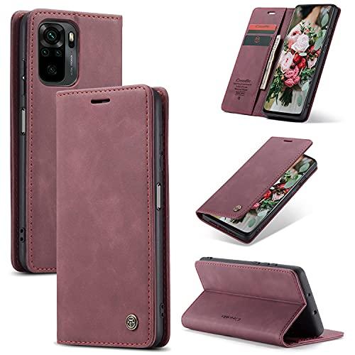 FMPC Handyhülle für Xiaomi Redmi Note 10(4G) Premium Lederhülle PU Flip Magnet Hülle Wallet Klapphülle Silikon Bumper Schutzhülle für Xiaomi Redmi Note 10S Handytasche - Wein Rot
