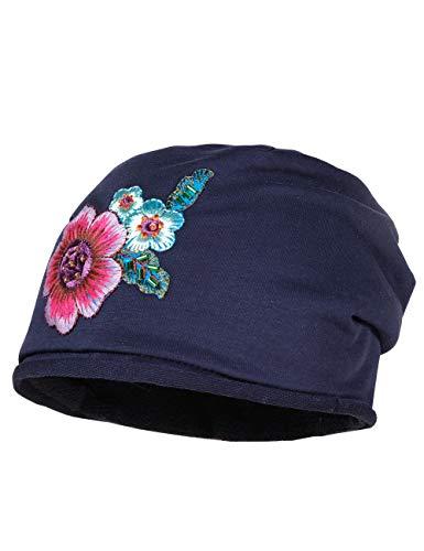 maximo Mädchen Beanie mit großer Blume Mütze, Blau (Navy 48), (Herstellergröße: 51/53)