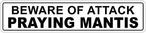 Yilooom Beware of Attack Praying Mantis - Cartel de Metal con Texto en inglés Beware of Attack (10,16 x 45,72 cm)