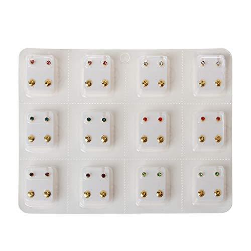 Yushu Juego de 12 pares de aretes de mini cristales para oreja, hipoalergénicos, para niñas, mujeres, hombres y mujeres