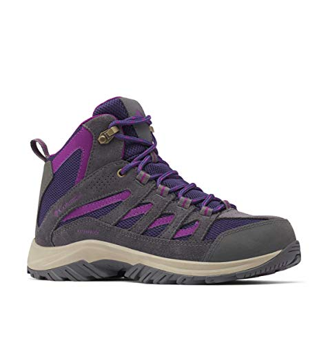 Columbia Women's Crestwood Mid Waterproof Hiking Shoe, Deep Purple/Wild iris, 8