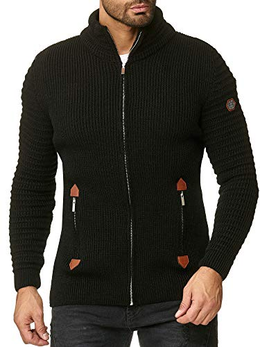 Red Bridge Herren Strickjacke Cardigan mit Stehkragen Basic Luxury Schwarz XL