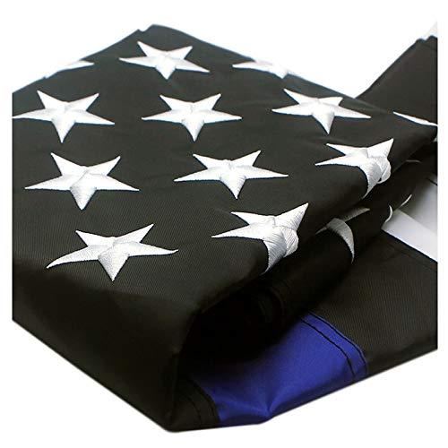 Bandeira fina de linha azul VSVO de 3 x 5 pés – Estrelas bordadas – Listras costuradas – Ilhós de latão – Proteção UV – Bandeira de polícia branca e azul americana que homenageia oficiais de aplicação da lei.