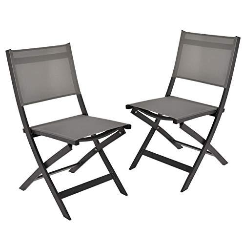 GARDEN ART Garden Premium Line 2 Garden Chairs - Chaise Pliante en Aluminium résistant aux intempéries Meubles de Jardin