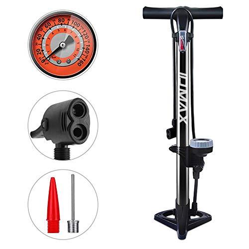 WEIDMAX Bomba para Bicicleta, Bomba ergonómica para Piso de Bicicleta Bomba de inflado de neumáticos para Bicicleta Bomba infladora portátil con manómetro y Cabezal de válvula Inteligente